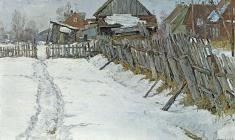 Mikhail Kozell. Towards the End of Winter. Oil on canvas, 54х85. 1970