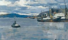 Marina Kozlovskaya. Murmansk Fish Port. Oil on cardboard, 31х50. 1966