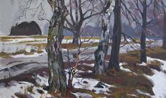 Marina Kozlovskaya. Road in Staraya Ladoga. Oil on canvas, 40х60. 1971