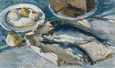 Engels Kozlov. Still-life with Herring. Oil on canvas, 40х65,5. 1965