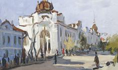 Boris Korneyev. Main Street of Bijsk.  Oil on cardboard, 15,2х24,5. 1953