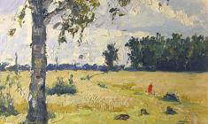 Alexander Korovyakov. Field Road. Oil on cardboard, 70х49. 1965