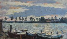 Alexander Korovyakov. At the Seliger Lake.Oil on cardboard, 30х40. 1965