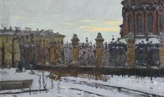 Alexander Korovyakov. At the Mikhailovsky Garden in Leningrad. Oil on canvas, 45х55. 1972