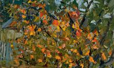 Alexander Korovyakov. In the Autumn Garden. Oil on canvas, 59,5х49,5. 1965