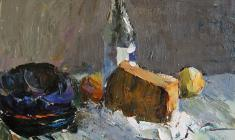 Alexander Korovyakov. Still-life with Bottlle. Oil on cardboard, 40х50. 1970