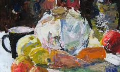 Alexander Korovyakov. Still-life with Cabagge. Oil on cardboard, 50х40. 1972