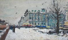Alexander Korovyakov. Winter Palace in Leningrad. Oil on cardboard, 14х26,5. 1965