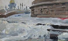 Alexander Korovyakov. Winter View in Leningrad. Oil on cardboard, 19х23. 1962