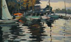 Alexander Korovyakov.Yacht-club. Oil on cardboard, 33х48. 1970