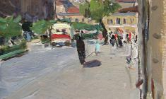 Elena Kostenko. At the Zhelyabova Street in Leningrad. Oil on cardboard, 18,2х12. 1954