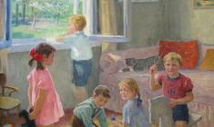 Elena Kostenko. Kids are Playing. Oil on canvas, 70х60. 1992