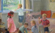 Елена Костенко. Дети играют. Х.м.,70х60. 1992