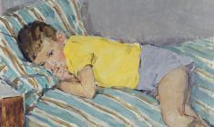 Elena Kostenko. Offended. Oil on cardboard, 50х70. 1963