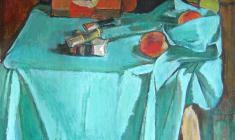 Gevork Kotyantz. Still-life with Paints. Oil on canvas, 57х61. 1972