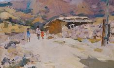 Boris Lavrenko. Village in Central Asia. Oil on canvas, 35х45. 1971