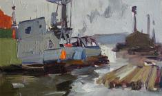Ivan Lavsky. At the Komarovsky Bridge. Oil on cardboard, 12,5х17,5. 1961