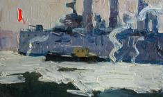 "Ivan Lavsky. ""Aurora"" on the Neva. Oil on cardboard,12,5х17,5. 1960"
