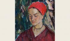 Valeria Larina. Girl under the Cypress.  Oil on canvas, 50х40,5. 1972