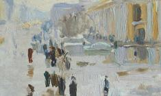 Peter Litvinsky. Rainy Day on the Nevsky Prospect. Oil on cardboard, 13х14,5. 1964
