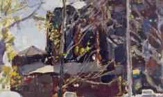 Peter Litvinsky. Spring in Leningrad. Oil on cardboard, 60х30. 1961