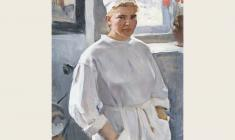 Oleg Lomakin. Nurse.  Oil on canvas, 95х68. 1970