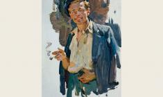 Oleg Lomakin. Smoking Man. Oil on cardboard, 48х33. 1961