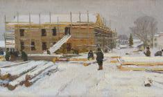 Dmitry Maevsky. House under Construction. Oil on canvas, 25х49,5. 1962