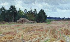 Dmitry Maevsky. Harvested Field. Oil on cardboard, 21,4х42,5. 1979