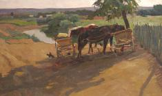 Dmitry Maevsky. Summer Etude with Horses. Oil on cardboard, 50х70. 1961