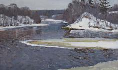 Dmitry Maevsky. At the Msta River. Oil on canvas, 40х50. 1970