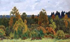 Dmitry Maevsky. Autumn is on the Way. Oil on canvas, 25х35. 1982