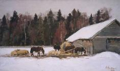 Dmitry Maevsky. Etude with Horses. Oil on canvas, 40х67. 1964