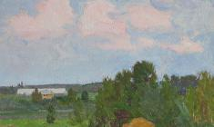 Дмитрий Маевский. Этюд со стогом. Карт.м.,24х25. 1971