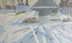 Dmitry Maevsky. Frosty. Oil on cardboard, 50х70. 1965