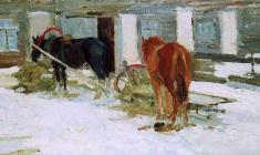 Dmitry Maevsky. Horses. Oil on canvas, 32,5х58. 1961