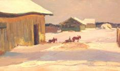 Dmitry Maevsky. January Sun. Oil on canvas, 24,5х49,5. 1966