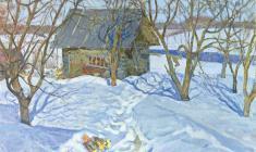 Дмитрий Маевский. Мартовское солнце. Х.м.,50х60. 1977