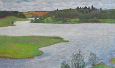 Dmitry Maevsky. Msta River. Oil on canvas, 50х60. 1977