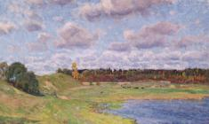 Dmitry Maevsky. Оctober in Podol Village. Oil on canvas, 45х59,5. 1976