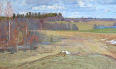 Dmitry Maevsky. Spring in Podol Village. Oil on canvas, 38х79. 1973