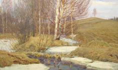Dmitry Maevsky. Spring Waters. Oil on canvas, 50х60. 1971