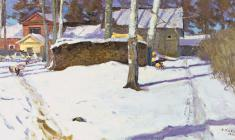 Dmitry Maevsky. Weather is Fine. Oil on canvas, 48,5х88,5. 1963