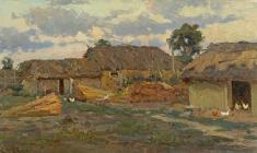 Dmitry Maevsky. Ukrainian Little Yard. Oil on canvas, 37х64. 1954