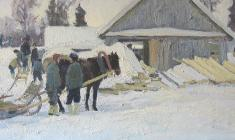 Dmitry Maevsky. Winter Day. Oil on canvas, 40х80. 1966