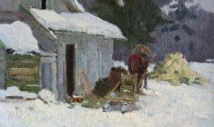 Dmitry Maevsky. Winter Etude with Sledge. Карт.м.,25,3х36. 1960