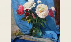 Vladimir Malevsky. Peonies.  Oil on canvas, 68х53. 1958
