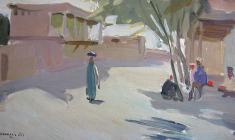 Valentina Monakhova. Midday in Samarkand. Oil on cardboard, 20,8х34,8. 1956