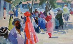 Valentina Monakhovaа.  Samarkand Bazaar. Oil on cardboard, 24,5х34,8. 1956
