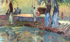 Валентина Монахова. Саиарканд. Чайный дом. Х.м.,58,5х67. 1956